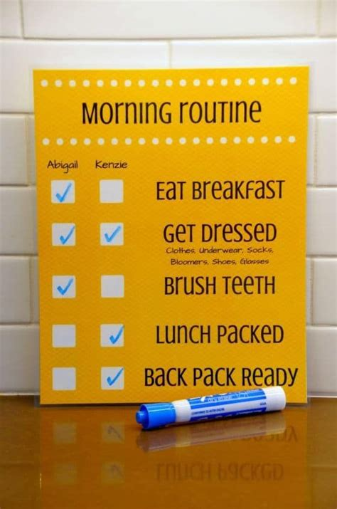 daily routine checklist  kids  images morning