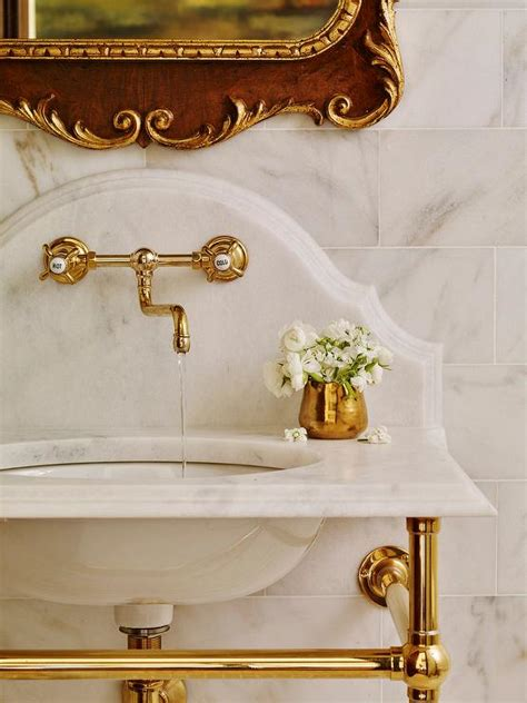 brass washstand  curved marble backsplash french