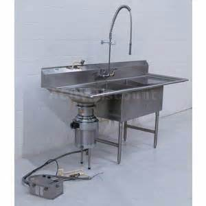kitchen faucets with sprayer in used 2 compartment commercial sink w db garbage disposal in sink erator ss200 sku 119353 sold