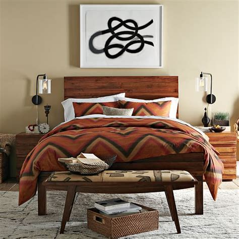 West Elm Stria Bed by Stria Nightstand Honey West Elm