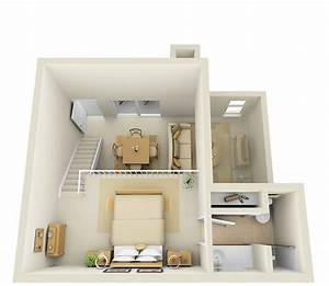 studio 2nd floor townhome 3d floor plan by pcmg With studio apartment floor plans 3d