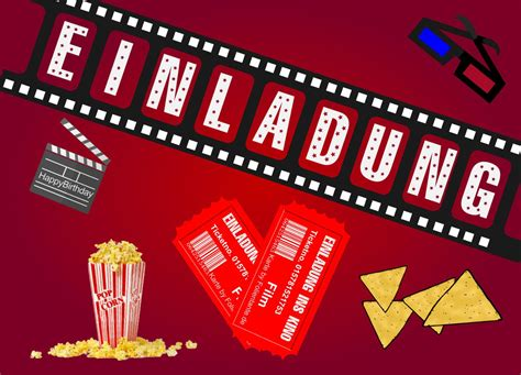 geburtstagseinladung kino einladungskarten kostenlos