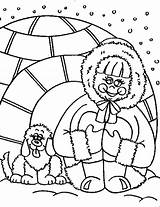 Igloo Coloring Inuit sketch template