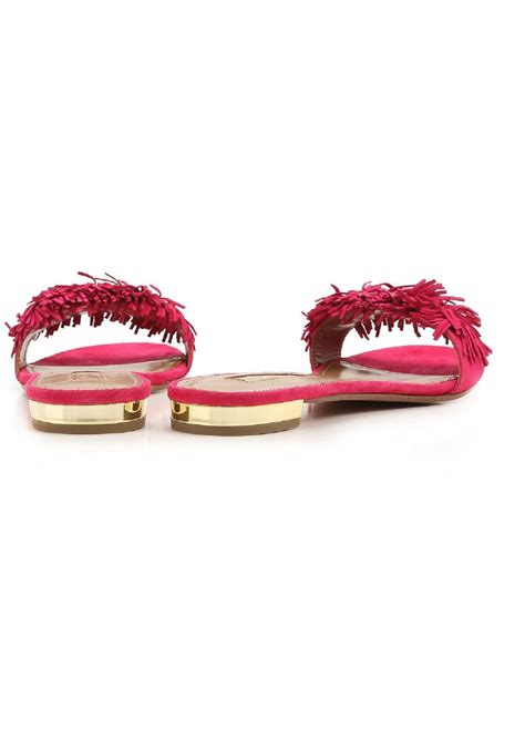 aquazzura slippers sandals  fuchsia suede leather italian boutique