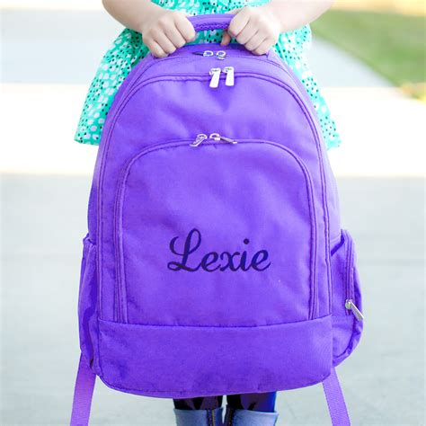 embroidered school backpack monogram book bags personalized backpacks  girls