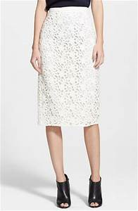 Burberry London Guipure Lace Long Pencil Skirt in White   Lyst