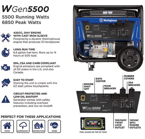 Westinghouse WGen 5,500/6,850-Watt Gasoline Powered ...
