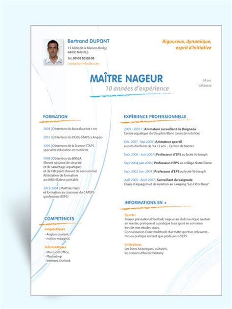 Modele Cv Facile by Mod 232 Le Original Cv Ma 238 Tre Nageur