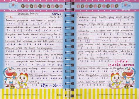 lhia s music notes not angka sheila on 7 seberapa pantas lhia 39 s music notes