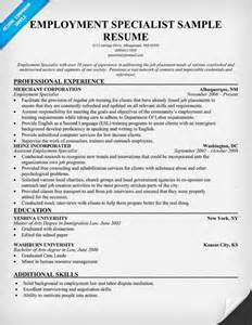 special list resume sle cover letter sle resume employment specialist