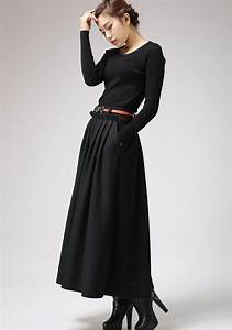 maxi skirtblack skirtwool skirtlong skirt pleated With robe longue portefeuille