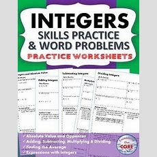 Integers Homework Practice Worksheets  Skills Practice With Word Problems