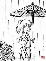 Spirited Away Chihiro Coloring Ghibli Studio Pages Totoro Anime Miyazaki Colouring Deviantart Hayao Sumi Haku Drawing Manga Princess Lineart Adult sketch template