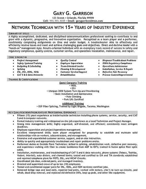 Cover Letter For Network Technician by Telecom Technician Resume Exles Sle Resume