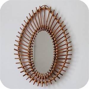 Petit Miroir Rotin : mobilier vintage grand miroir en rotin vintage forme oeil amande atelier du petit parc ~ Melissatoandfro.com Idées de Décoration