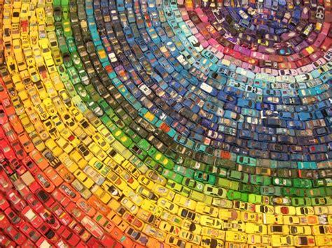 rainbow cars rainbow toy car installation made from 2 500 cars colossal