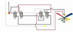 Ceiling fan light switch wiring : Wiring a ceiling fan with two switches diagram