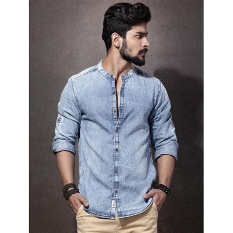 light denim shirt mens buy roadster light blue denim shirt for