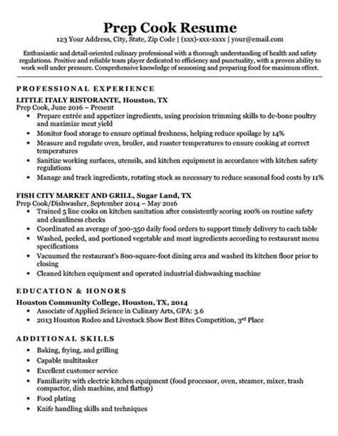 Cv Format For Cook by Prep Cook Resume Sle Writing Tips Resume Companion