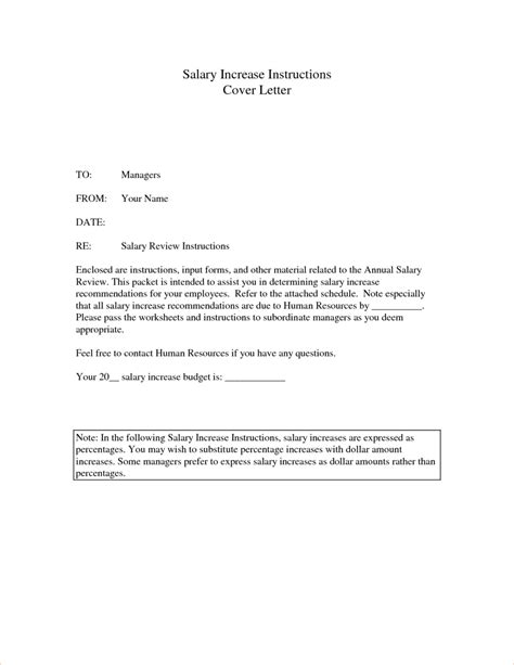 Letter Template Free Printable Salary Increase Letter Template Cover