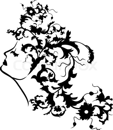 fantasy woman face  floral hairstyle stencil vector