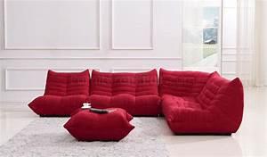 red fabric modern sectional sofa w ottoman With red sectional sofa with ottoman