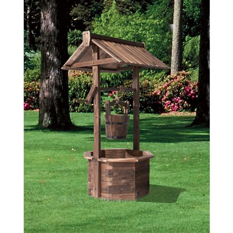 stonegate designs wooden wishing  planter burnt