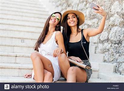 Attractive Taking Selfies Themselves Young Stairs Alamy