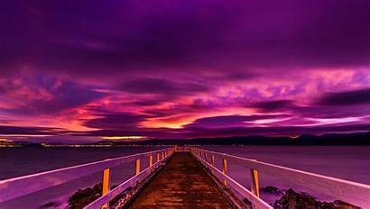 Purple Sunset Sky Desktop Wallpapers Pier Clouds