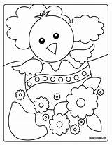 Coloring Easter Chick Egg Spring Monster Sunny sketch template