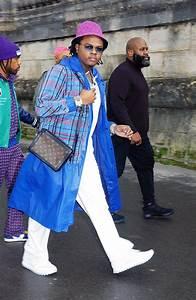rapper gunna attends the louis vuitton menswear fall