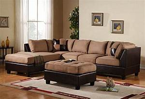 3 piece modern microfiber faux leather sectional sofa with With brown microfiber and leather sectional sofa with ottoman by acme