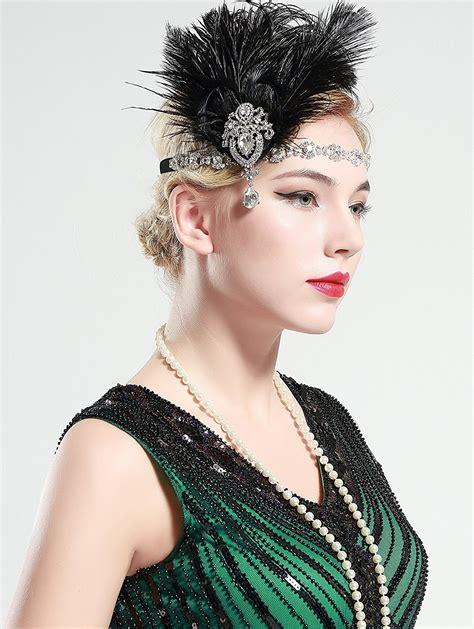 1920s Headband Black Feather Gangster Flapper Headpiece