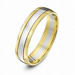 9kt white yellow gold court 5mm wedding ring With white and yellow gold wedding ring