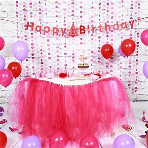 Sunbeauty Set Pink Theme Happy Birthday Decoration DIY ...