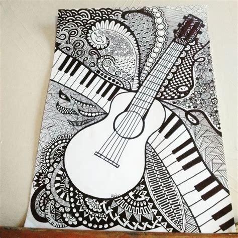 zentangle  guitarra doodle art flowers sketchbook