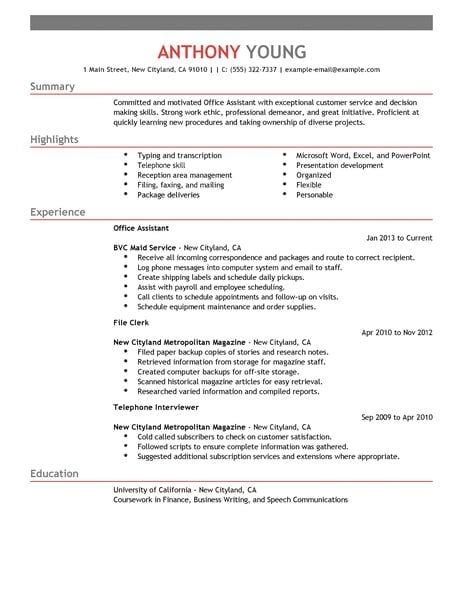 Best Office Assistant Resume Example  Livecareer. How To Start A Cover Letter For A Resume. Resume Format In Latex. Resume For A Summer Job. Resume Format For Call Center. Resume After College. Walmart Resume Paper. Sample Resume. Hr Functional Resume