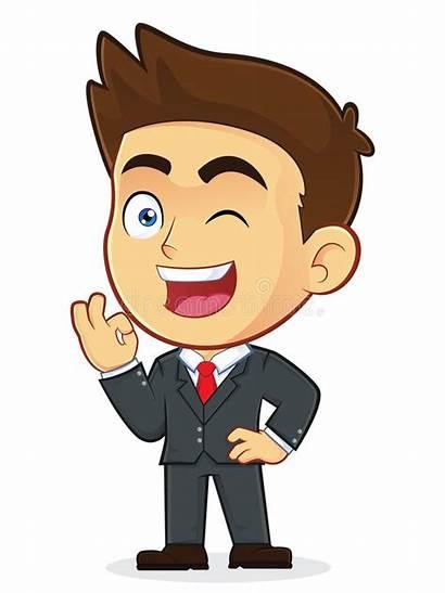 Ok Male Businessman Winking Cartoon Clipart Gesturing