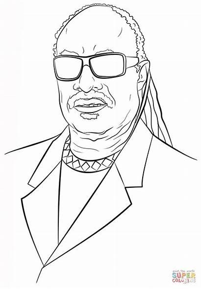 Wonder Stevie Coloring Pages Celebrity Printable Drawing