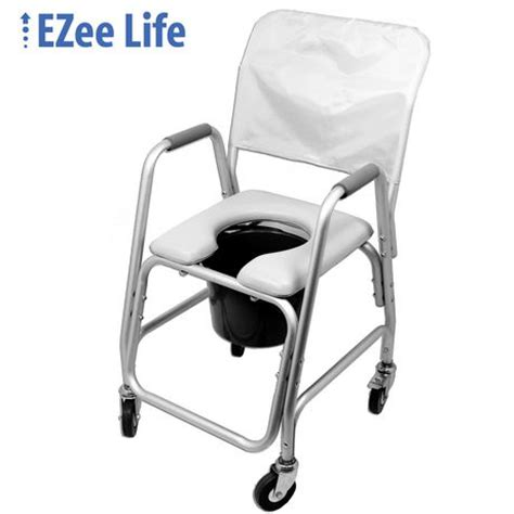 ezee 16 quot seat width standard wheeled commode with