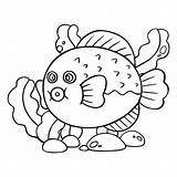 Fish Cartoon Puffer Coloring Depositphotos Kinder Childrens Fuer Prints Friendly Character Funny Drucke Weissem Kugelfisch Karikatur Niedlichen Hintergrund Farbbuch Charakter sketch template