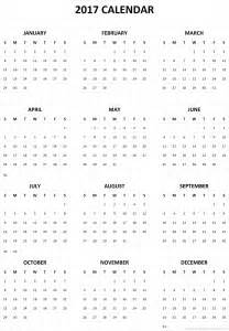 2017 Calendar Printable One Page Templates