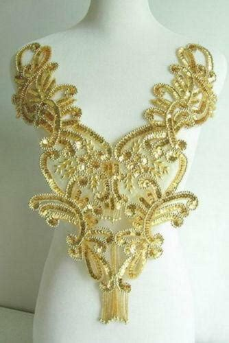 Gold Applique by Gold Beaded Applique Ebay