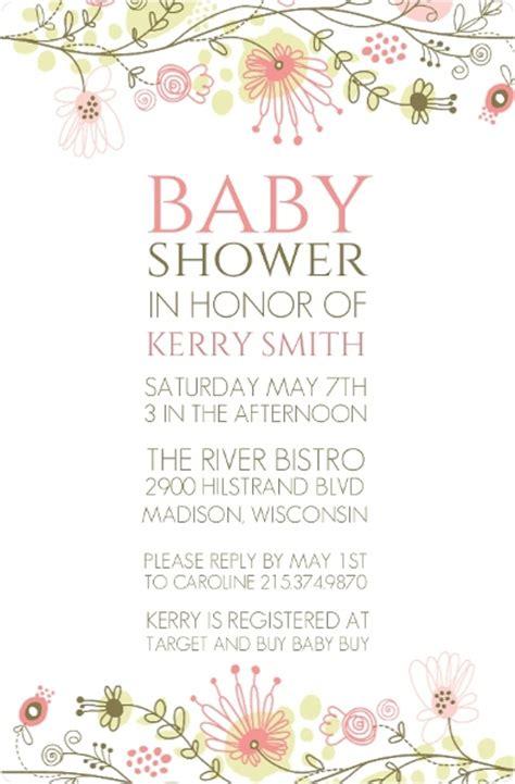 spring floral border baby shower invitation girl baby