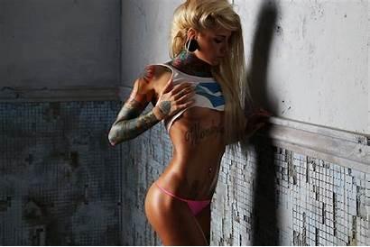 Tattoo Nose Blonde Underboob Panties Rings Pink