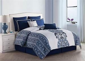 Amazon, Com, 8, Pc, Blue, And, White, Comforter, Set, Queen