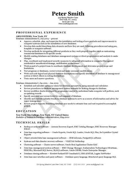 Oracle Dba Resume Format by Oracle Database Administrator Resume Sle