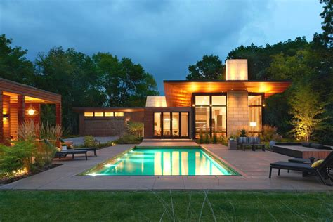 Modern ranch with pool house makes merry retreat in