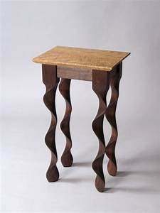 Custom contemporary walnut Taffy End Table by David ...