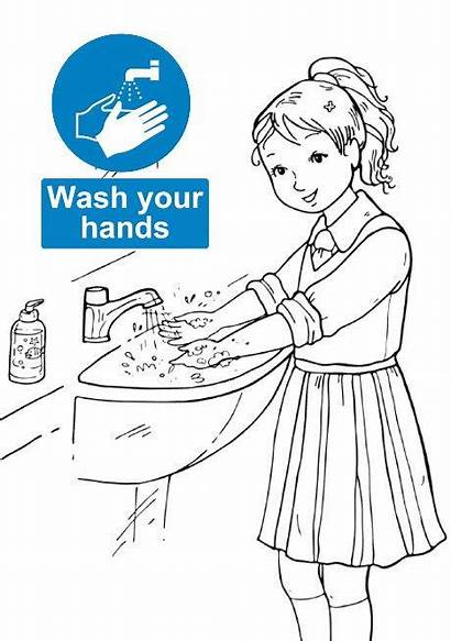 Washing Coloring Hand Clipart Hands Signs Teaching